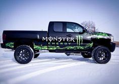 A throw back vehicle wrap, when Ink Monstr wrapped the Monster... #monsterenergy, #truckwrap, #inkmonstr
