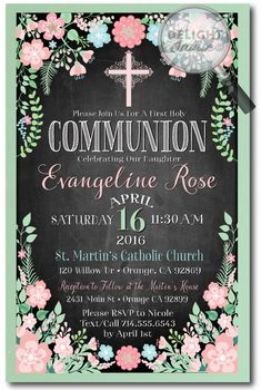 Vintage Chalkboard Botanical Communion Invitations, professionally printed first communion invitations, first communion invitation ideas for girls, vintage communion invites, girls first holy communion, girls confirmation invitations