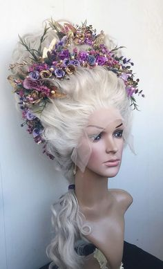 Carnival wig Blonde wig Marie-Antoinette wig Rococo wig century wig Decorated wig Styled wig Wig With Flowers Cosplay wig Drag wig Blonde Hair Extensions, Blonde Wig, Costume Marie Antoinette, Rose Bertin, Mode Rococo, Rococo Style, 18th Century Wigs, 18th Century Costume, Drag Wigs