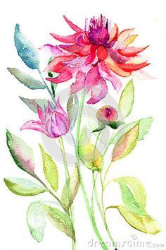 dahlia watercolor painting