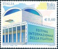 2008 - Italia 2009 - Festival internazionale della filatelia - Palazzo dei congressi, a Roma Drawing Sketches, Drawings, Personalized Items, Stamps, Palazzo, Italia, Architects, Seals, Postage Stamps