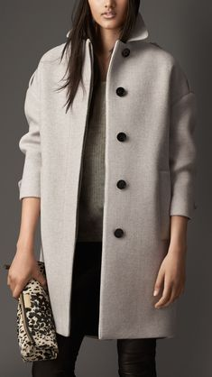 Oversize Virgin Wool Cashmere Herringbone Caban | Burberry