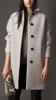Oversize Virgin Wool Cashmere Herringbone Caban | Burberry