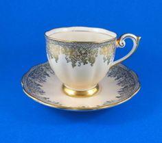 Pretty Pink Gold Grape Design Bell Tea Cup and Saucer Set