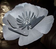 Black Paper flower Gray Paper Flower Rhinestone by SplendidPetals