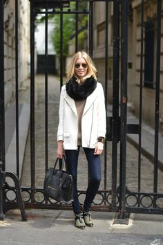 Biker jacket, fur scarf, Céline Mini Luggage, Studded boots