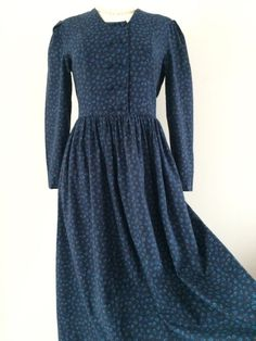 VINTAGE LAURA ASHLEY DARK NAVY BLUE BELL COTTON WOOL TEA DRESS TIE BACK 10-12UK #LauraAshley