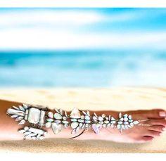 Buy Rihanna II Jeweled Barefoot Sandals - Ankle Foot Jewelry, Barefoot Sandals, barefoot sandals bohemian, Beach Wedding, Cryatals, Rihanna barefoot sandals