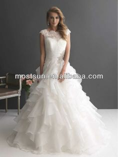 WD627 Romantic Sheer High Neck Lace Top Ball Gown Covered Back Wedding Dresses Ruffle Organza Cap Sleeve