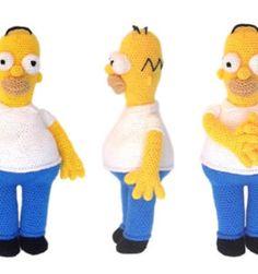 Homer Simpson, patrón en castellano Crochet Skirt Pattern, Crochet Patterns, Crochet Wreath, Vintage Crockery, Homer Simpson, Yarn Needle, Collar Shirts, Single Crochet, Fun Projects