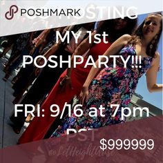 CO-HOSTING MY 1st POSH PARTY 9/15 7pm PST🎉🎊 Hey Posh Fam! I am co-hosting my 1st Posh Party in Sept and I'm so grateful for the opportunity! I'm looking for awesome HOST PICKS from Posh-compliant closets! Please tag your PFFs and help spread the word! 🎊🛍🎉🛍🎊 Other
