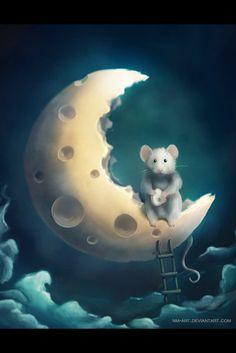 Whimsical Moon- too cute Art And Illustration, Fantasy Kunst, Fantasy Art, Art Fantaisiste, Art Mignon, Marjolein Bastin, Cute Mouse, Beautiful Moon, Gif Animé