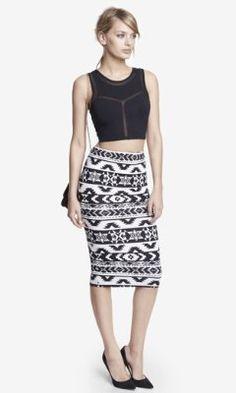 Knit Aztec Print Midi Pencil Skirt