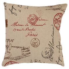 Dress up your sofa or bed with a decorative toss pillow. The red Madame French Laundry pattern on a solid linen background adds a vintage touch of romance to your room. At 16 inches square, it captures attention without detracting from other decor.