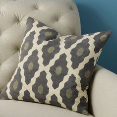 Throw pillows for living room couch--Hand-Blocked Silk Casablanca Pillow Cover | west elm