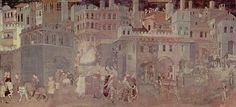 Ambrogio Lorenzetti, Alegoría sobre los Efectos del Buen gobierno. Palazzo Pubblico de Siena (1338-1340) - Pintura Italiana SS.XIII-XIV. El Trecento. La escuela de Siena. -26.
