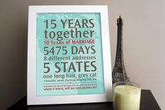 "Haha.  I love that the ""long-hair, grey cat"" is bigger than the ""outgoing little boy"" on this!!!  Cute idea DIY -Personalized Wedding Anniversary Gift: Your Loves Journey By the Numbers. $39.00, via Etsy."