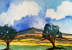 Small Two Trees Mountain Scene Landscape In Watercolor and Ink