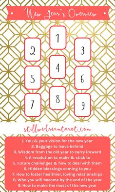 A New Year's tarot card spread with advice, challenges, and positive encouragement for making your New Year the best possible.