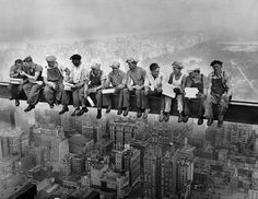 Construction workers eat in  Rockefeller Center # black and white