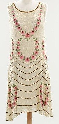 ca.1920's Silk, appliqued, beaded, sequined flapper dress.