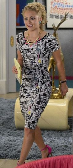 Carrie's black and white graphic printed knee length dress on The Carrie Diaries.  Outfit Details: https://wornontv.net/23882/ #TheCarrieDiaries