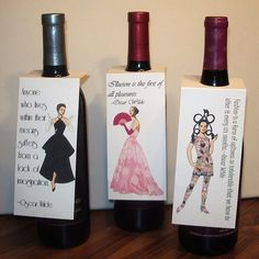 Wine Bottle Gift Tags with Oscar Wilde Quotes