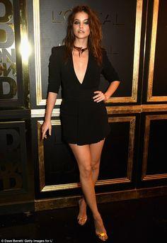 Gorgeous: Barbara Palvin rocked a low-cut mini dress