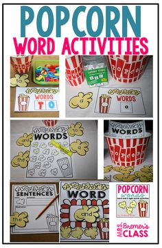 Popcorn Sight Word Activities for Kindergarten and First Grade. Packed with fun ideas and hands on activities that will help your students learn the most frequently used words in English. Editable templates included, to add your own words. Preschool Art Activities, First Grade Activities, Spelling Activities, Sight Word Activities, Language Activities, Writing Activities, Interactive Word Wall, Popcorn Words, Phonemic Awareness Activities