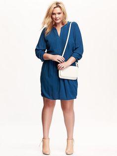Plus Size Pintuck-Yoke Dress