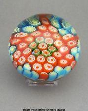 Vintage Murano Venetian Style Millefiori Art Glass Paperweight