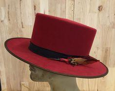 100% beaver fur felt mens flat top hat by hatWRKS on Etsy…