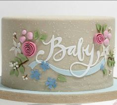 Baby shower cake, design was inspired by the invitation. The invitation was created by Jennifer Wick for Minted. The cake is covered in fondant, it is textured by airbrushing it with Royal Icing! That's right, you heard me AIRBRUSHED WITH ROYAL. Gorgeous Cakes, Pretty Cakes, Cute Cakes, Gateau Baby Shower, Baby Shower Cakes, Baby Cakes, Shower Baby, Fondant Cakes, Cupcake Cakes