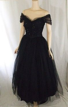 Vintage 1950s Black Tulle and Rhinestone Evening Party Gown