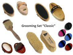 Natural Horse Grooming Brush Kit 'Classic' (curry color: dark blue)