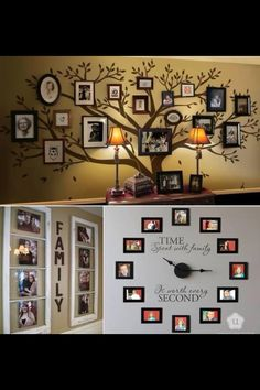 Photo display. Love the old family photo wall idea for the dining room one day!