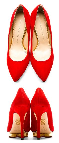 Debbie Pump in red by Charlotte Olympia. Suede pumps in red. Pointed toe. Heart-shaped platform with metallic gold trim. Tonal suede heel. Raised metallic spider-web logo in gold at sole. Tonal stitching.  http://zocko.it/LD4NR