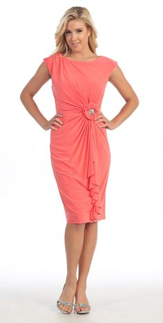 Modest Coral Bridesmaid Dress Cap Sleeves Round Neck Flower