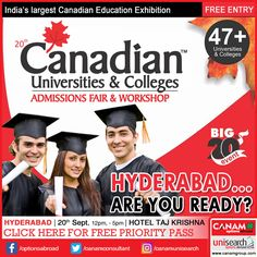 Expert team of #CanamConsultants comes to Hyderabad tomorrow with their exclusive #CanadaEducationFair. We will take up all your queries and doubts related to Canada Education. Register for this fair if #CanadaEducation is what you are dreaming about! #Best_Immigration_Consultancy #StudyAbroadGuidance. Register Today For Free Priority Pass http://www.canadaedufair.com/register.php