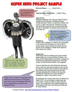 """This blog post describes a project for any unit as a fun way for students to demonstrate their learning! Students show off their creativity in creating a superhero or villain out of a historical figure. Mine turned Harriet Tubman into """"Moses the Great"""" & Henry Ford into the """"Model-T Pain"""". They create abilities, weaknesses, and an origin story based off of things they learned. Included are a template, official example and rubric, and 3 exemplary student examples."""