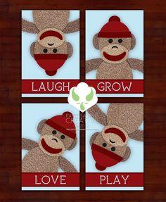 Prints - sock monkey messages set of four 4X6 prints - nursery, art. $17.00, via Etsy.