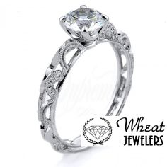 Vintage Inspired Openwork Diamond Accent Engagement Ring #engagementring #vintage