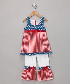 Take a look at this Red & Blue Patriotic Tunic & Pants - Toddler & Girls by AnnLoren on #zulily today!