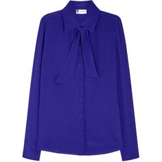 Lanvin Cobalt Silk Blouse - Size 10 (4.130 RON) ❤ liked on Polyvore featuring tops, blouses, silk tie neck blouse, tie neck top, blue neck tie, tie neck blouse and blue silk top