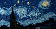 This is a mesmerizing marbling art video by Garip Ay. He creates an interpretation of Van Gogh's 'Starry Night' painting using the paper marbling technique—or more specifically the Turkish method called ebru. Vincent Van Gogh, Art Van, Van Gogh Pinturas, Gogh The Starry Night, Van Gogh Self Portrait, Ebru Art, Painted Vans, Van Gogh Paintings, Turkish Art