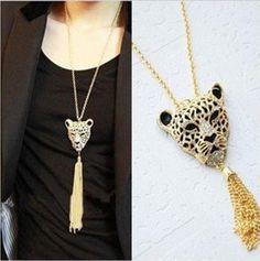 New Fashion Leopard Tassel Pendants Top Necklaces Women Hot Jewelry Gold #Fashion #Vintage