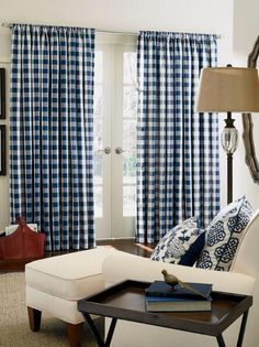 Make a bold statement with this timeless woven large check that can work alone at your windows, or delightfully accent other styles. (Country Curtains Buffalo Check Rod Pocket Curtains. Available in Navy Blue, Black, Chocolate, Gold, Red and Sage.)