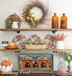 Shelf decorating ideas for fall    Worthing Court #fall #falldecor #autumn