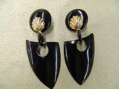Vintage handmade horn clip on earrings by aprilsunrises on Etsy