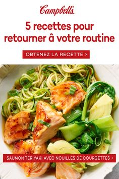 Enjoy our delicious quick and easy dinner recipes that you can cook up in 30 minutes or less. Quick and easy recipes that your family will love. Easy 30 Minutes or Less Recipes - Using zucchini as a base gets extra vegetables into this delicious recipe! Salmon Recipes, Fish Recipes, Seafood Recipes, New Recipes, Cooking Recipes, Gluten Free Recipes For Dinner, Healthy Dinner Recipes, Recipe Using Zucchini, Teriyaki Salmon